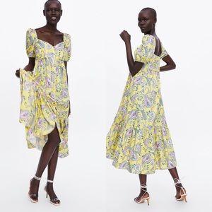 NWT Zara Yellow Paisley Summer Sun Dress